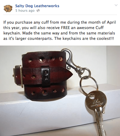 Now for the good news - buy something in April and you will get this keychain cuff for free!