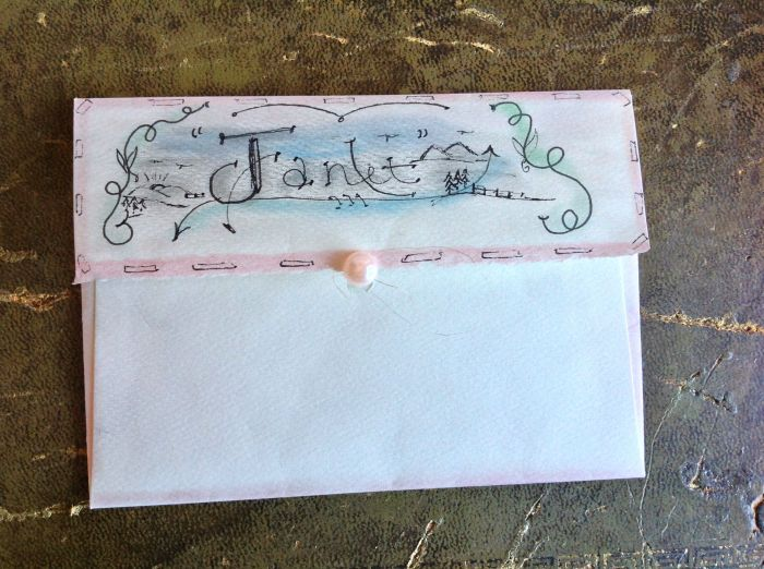 Beautiful handwritten letter, sealed inside this lovely envelope and sealed with a pearl bead.