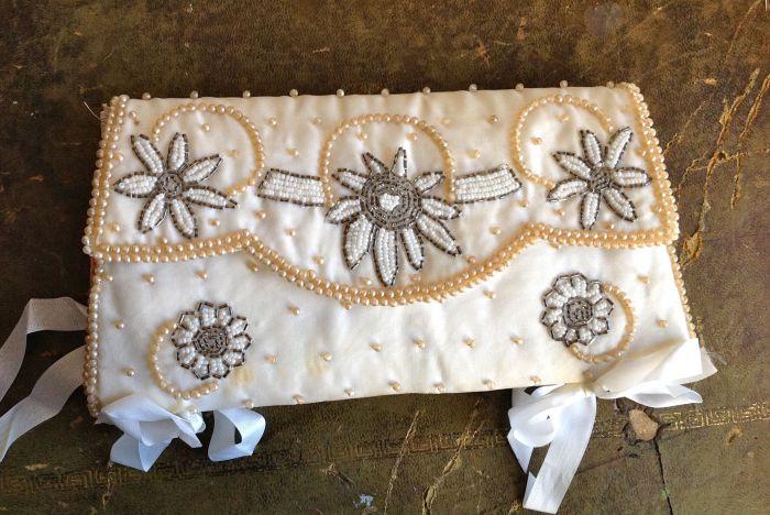 A beautiful beaded handbag turned into a journal