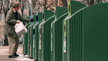 A bank of recycling stations