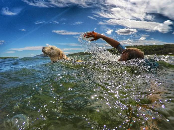 Doing the SwimRun with his dad