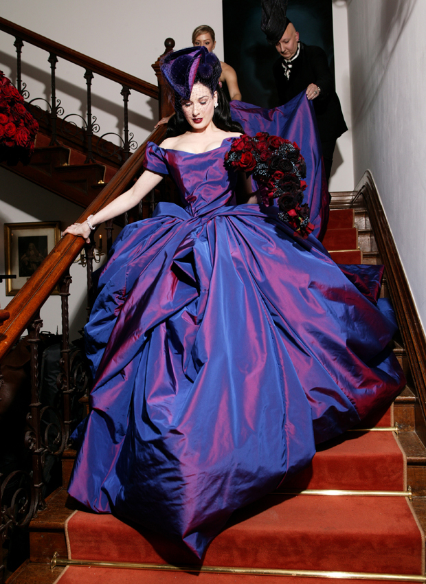 Freaky-Fabulous-Dita-Von-Teese-Purple-Vivienne-Westwood-Wedding-Dress