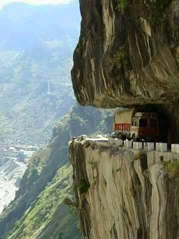 Karakorum Highway in Pakistan. Goes through the Karakorum ranges and onto China