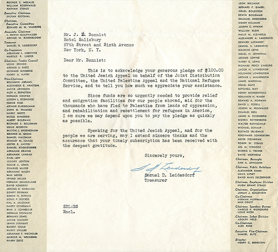 Mr. Jacob Bonnist pledges funds to UJA, 1941 (2/3)