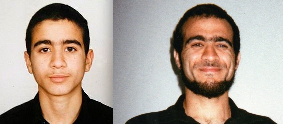 Omar Khadr at 14, when his father brought him to Afghanistan to fight, and at 28, after 13 years of US and Canadian captivity