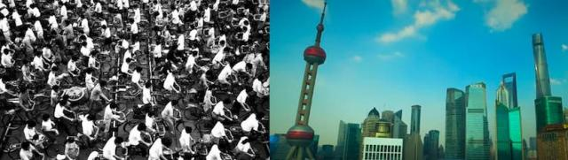 Shanghai workers commuting on bicycles in the 1990s and Shanghai 25 years later