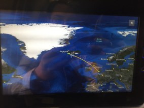 flight map from London to Iceland