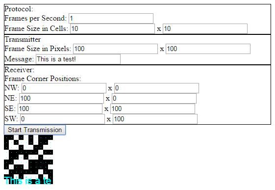A Pixel Matrix Transceiver in JavaScript