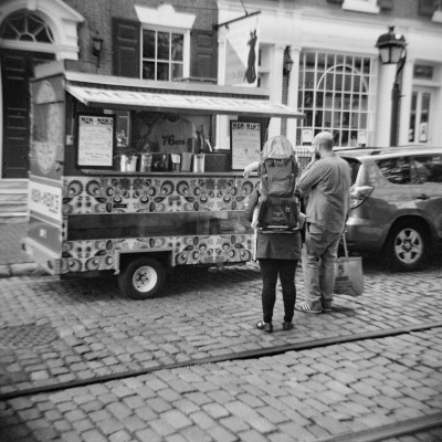 Black and White Mom-Mom's Polish Food Cart