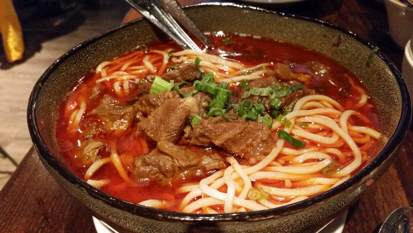 Spicy Sichuan Beef Noodle Soup at Dan Dan