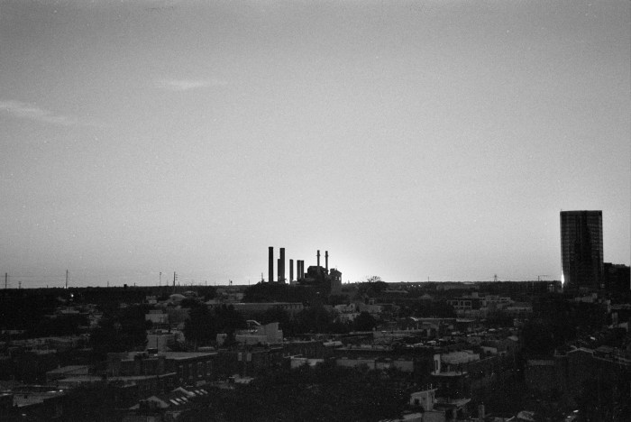 Black and White Factory Sunset