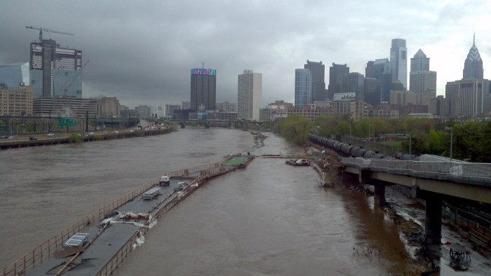 Overflowing Schuylkill River during Construction of the Boardwalk
