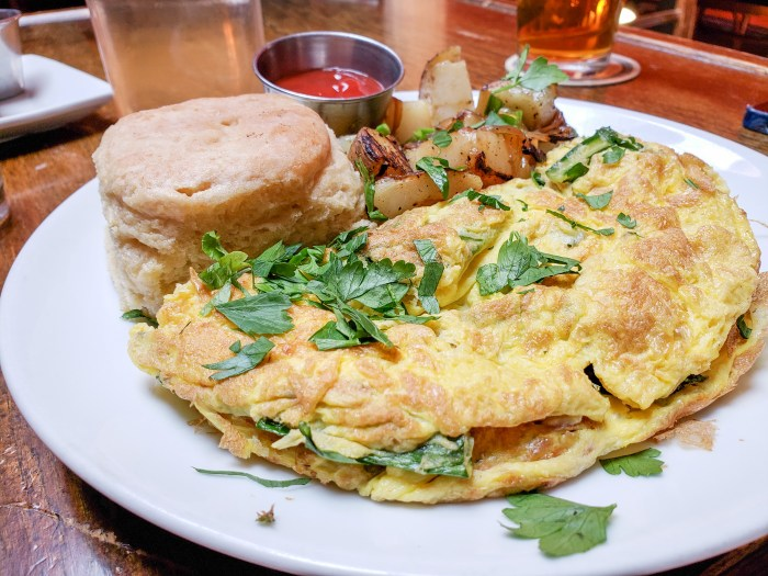 Cheddar and Dandelion Omelet at Standard Tap
