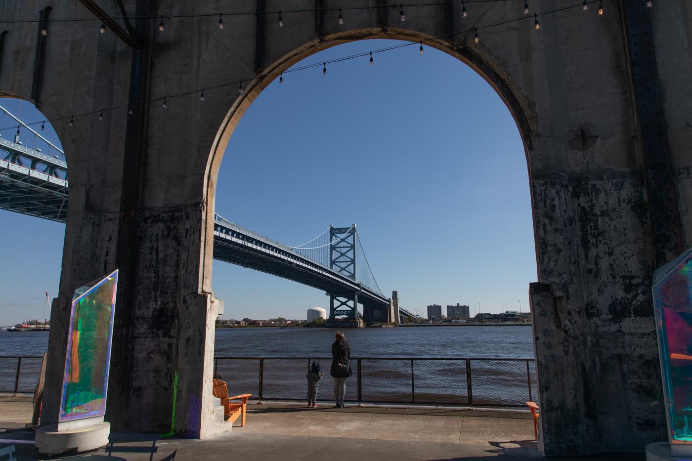 Benjamin Franklin Bridge as Seen from Cherry Street Pier