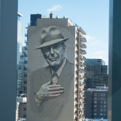 Leonard Cohen Mural as Seen from the Montreal Museum of Fine Art
