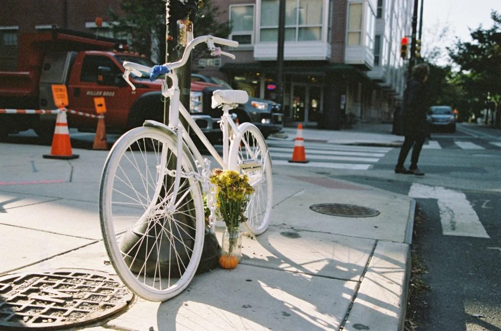Ghost Bike in Memory of Emily Fredricks