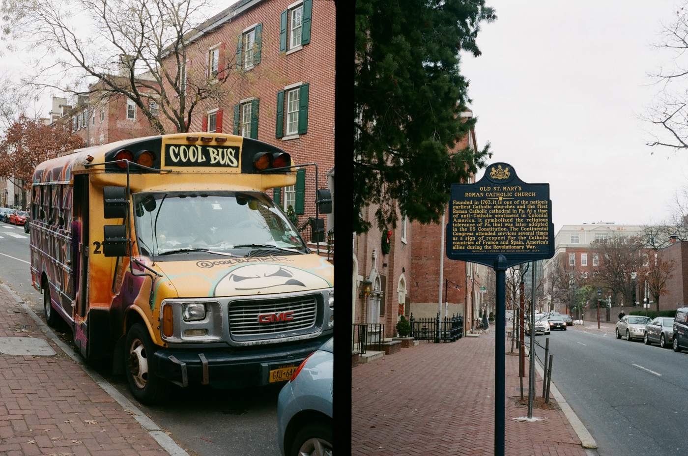 Cool Bus and Old St. Mary's Historical Marker