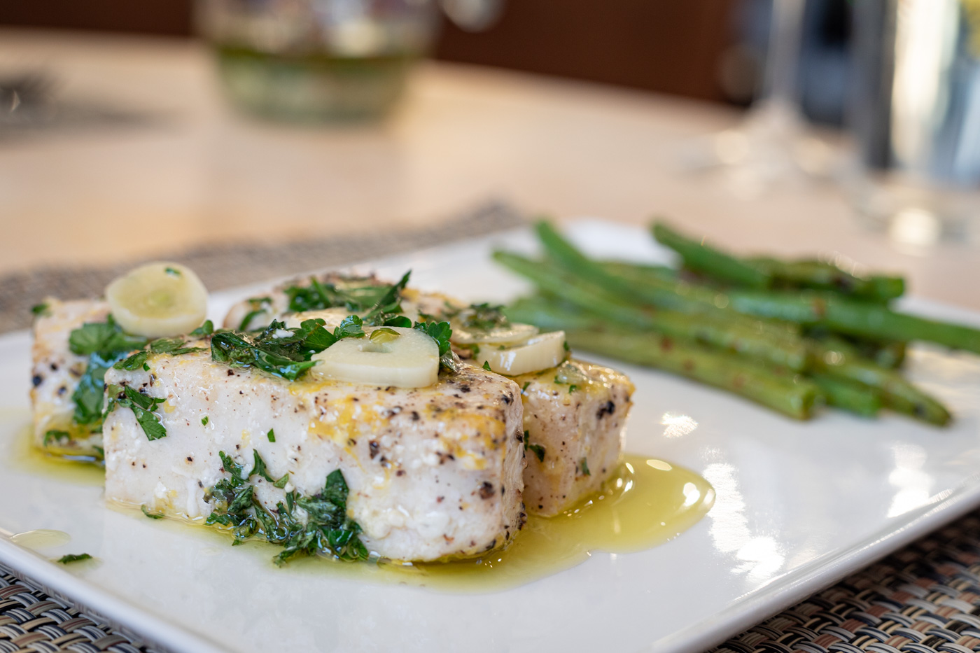 Olive Oil Poached Swordfish with Fresh Herbs and Lemon
