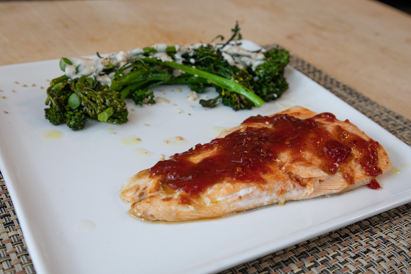 Arctic Char and Broccolini with Tahini Yogurt