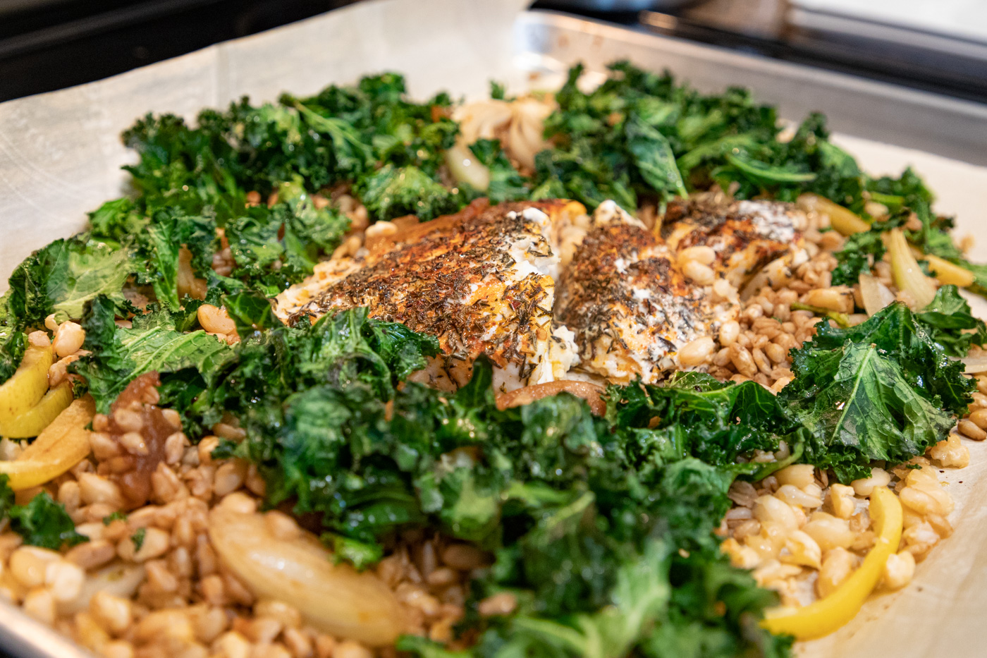 Lemony Halibut and Beans with Farro