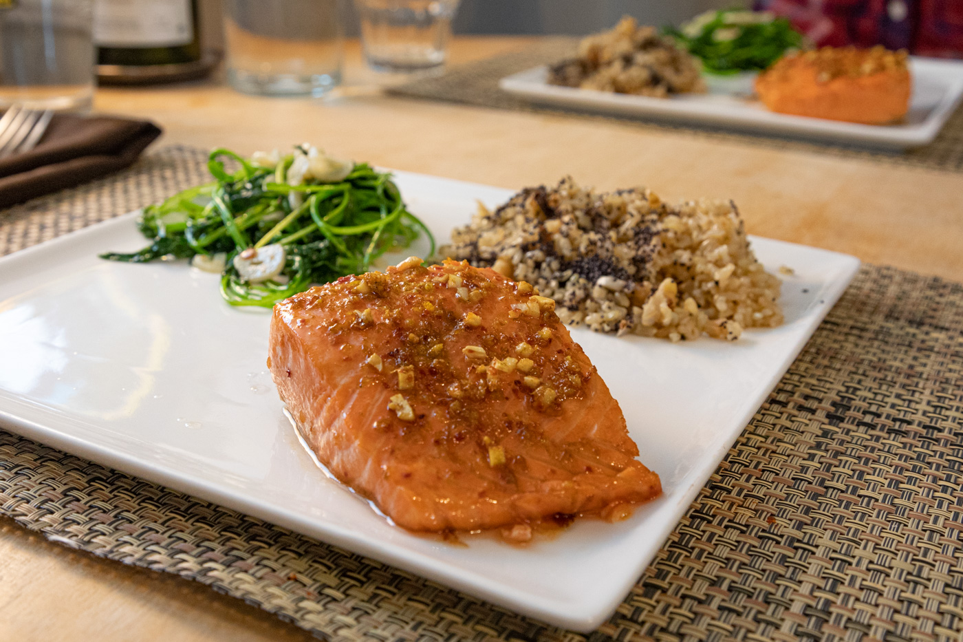 Pomegranate-Glazed Salmon, Pilaf Coquelicot, Baby Broccoli Leaves