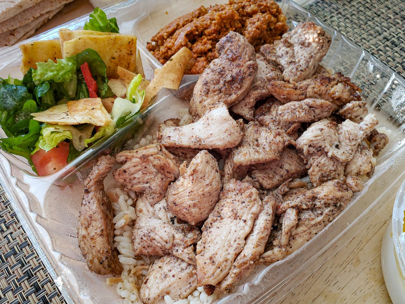 Chicken Shawarma, Fattoush, and Muhamara from Apricot Stone
