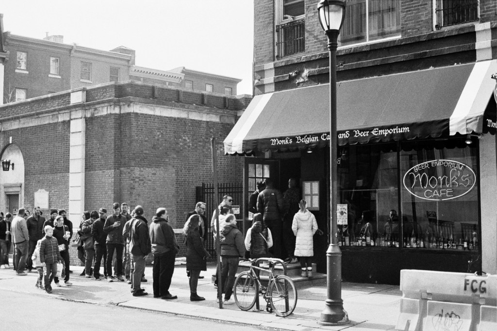 Line Outside Monk's Cafe