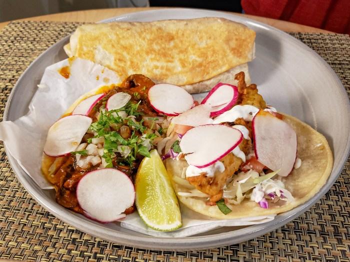Mushroom Taco, Fish Taco, and Volcano Burrito from Loco Pez
