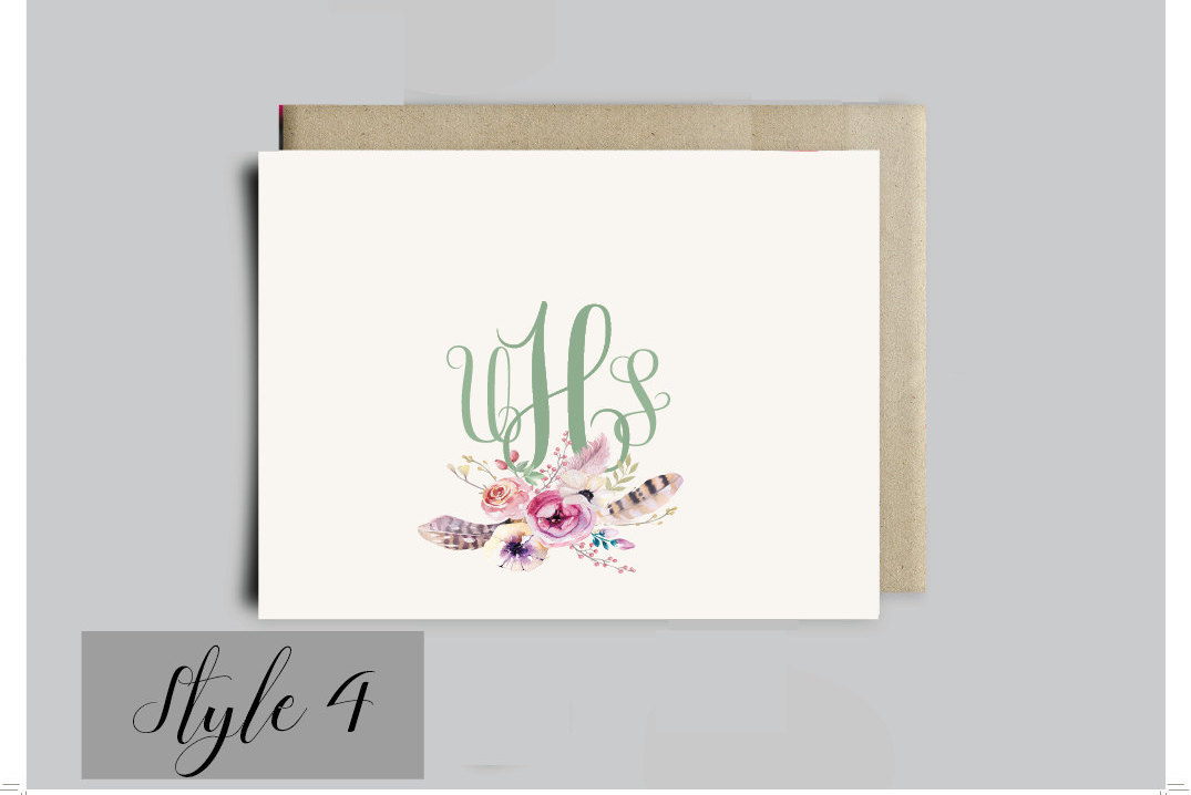 custom boho monogram note cards printable flat or folding boho