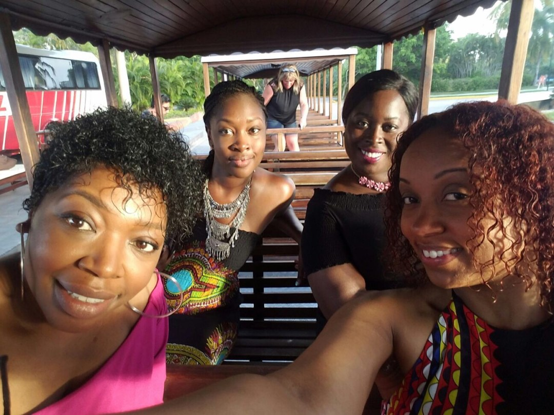 Me and my girlfriends on the trolley in Punta Cana DR