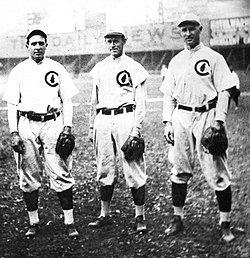 Chicago's infield combo of Joe Tinker, Johnny Evers, and Frank Chance pull off their first double play