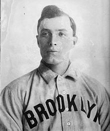 """Elmer Stricklett throws a """"mystery pitch"""" believed to be the first spitball"""