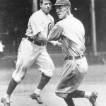 Joe Tinker and Johnny Evers engage in a fist fight on the field during an exhibition game in Washington, IN, because Evers took a taxi to the park, leaving his teammates in the hotel lobby. The pair will not speak to each other ever again.