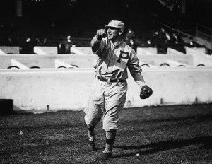 "January 4, 1915 - Infielder Hans Lobert (photo), well known as the ""fastest man"" in the National League, is traded by the Philadelphia Phillies to the New York Giants for pitcher Al Demaree, infielder Milt Stock, and catcher Bert Adams. The speedster will injure his knee in a preseason game at West Point."