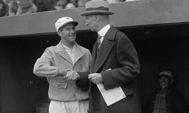 On Opening Day, 38 year-old Senators' hurler Walter Johnson strikes out a dozen A's batter when he outduels Eddie Rommel for 15 innings, beating Philadelphia at Washington's Griffith Stadium, 1-0. The 'Big Train', in his next-to-last season, will finish the campaign with a 15-16 record (.484) along with an ERA of 3.63 for the fourth-place club.