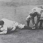 Babe Ruth out stealing to end the World Series