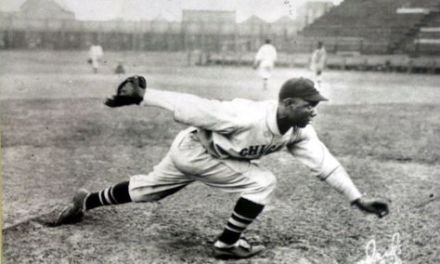 "Claude ""Red"" Grier of the Atlantic City Bacharach Giants pitches a post-season no-hitter against the Chicago American Giants"