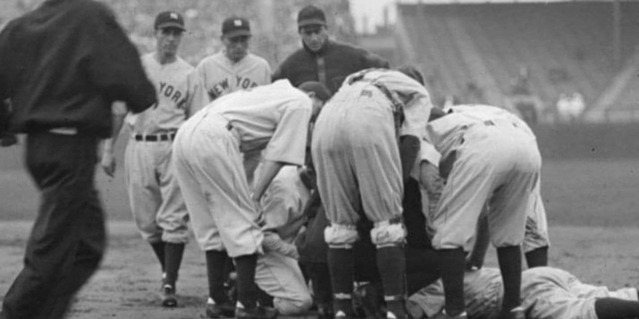 In a rain-soaked game between theYankeesand theRed Sox,Lou Gehrigleaves in the fourth inning with another lumbago attack. The teams engage in stalling and hurry-up tactics, andAmerican LeaguePresidentJohn Heydlerfines managersJoe CroninandJoe McCarthy$100 each.