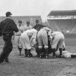 In a rain-soaked game between the Yankees and the Red Sox, Lou Gehrig leaves in the fourth inning with another lumbago attack. The teams engage in stalling and hurry-up tactics, and American League President John Heydler fines managers Joe Cronin and Joe McCarthy $100 each.