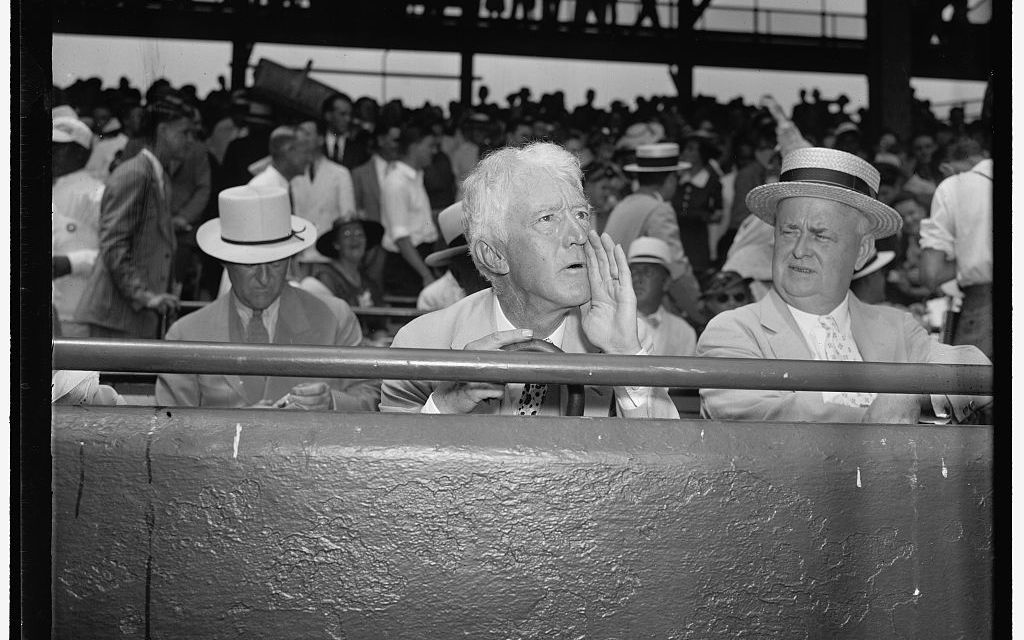 President Franklin D. Roosevelt tosses first pitch and  Yankees first baseman Lou Gehrig drives in four runs as AL cruises to 8-3 victory