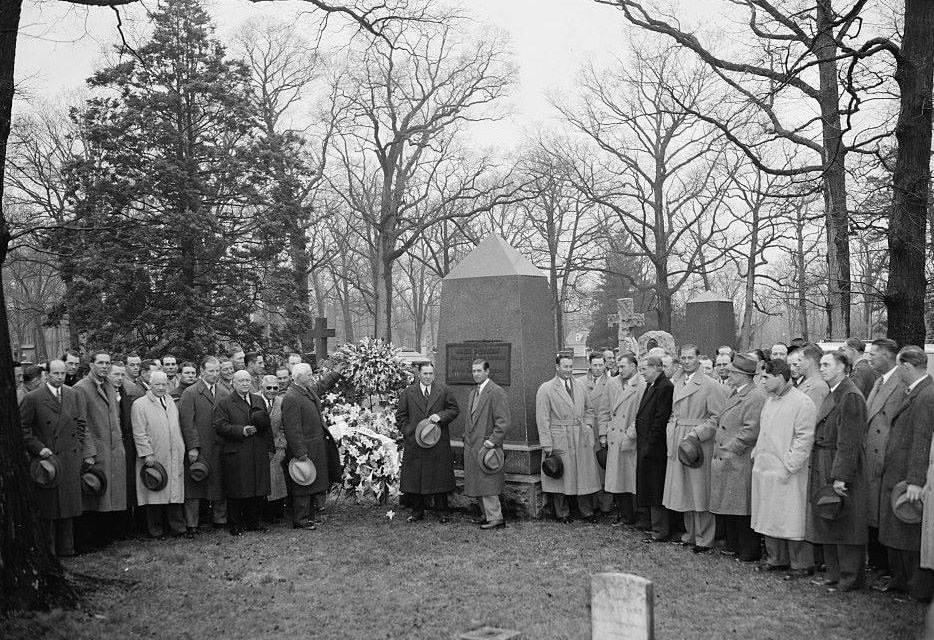 On the morning of Opening Day in Washington, DC, U.S. President Franklin D. Roosevelt and the New York Yankees visit Abner Doubleday's grave at Arlington National Cemetery. Roosevelt is also scheduled to throw out the first pitch at Griffith Stadium, but the game is rained out and Vice President John Nance Garner will do the honors four days later.