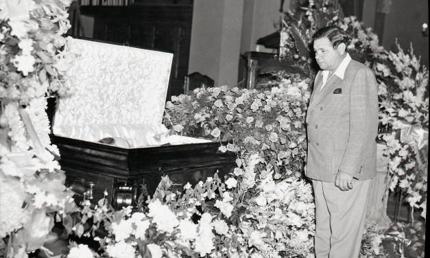 Numerous baseball dignitaries attend the funeral of Lou Gehrig in the Bronx