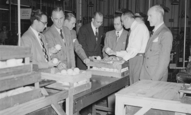 The major leagues approve a new official ball manufactured by the Spalding Company for the upcoming season. Instead of the usual combination of cork and rubber, the inside of the ball is made up of recycled cork and balata, materials not needed in the war effort. Officials insist the ball will have the resiliency of the 1939 ball, but the players will express dismay that they cannot drive the new ball and point out the dearth of runs and homers in 1942 even with the old ball.