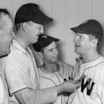 The Senators again muff a chance to go into first place, dropping a pair to the Yankees, 3 - 2 and 3 - 1. In between games, Nats pitcher Bert Shepard receives the Distinguished Flying Cross for his service in World War II. Shepard lost his leg in battle.