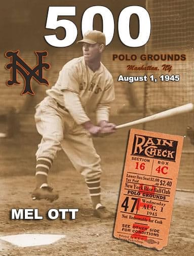 Mel Ott of the New York Giants rips the 500th home run of his career