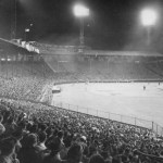 In front of the largest crowd in 13 years, the New York Giants defeat the Boston Braves, 5 - 1, in the first night game played at Braves Field. The 37,407 fans are surprised as their hometown heroes enter the field wearing shiny satin uniforms designed to reflect the light generated by the electricity used for the evening contest.