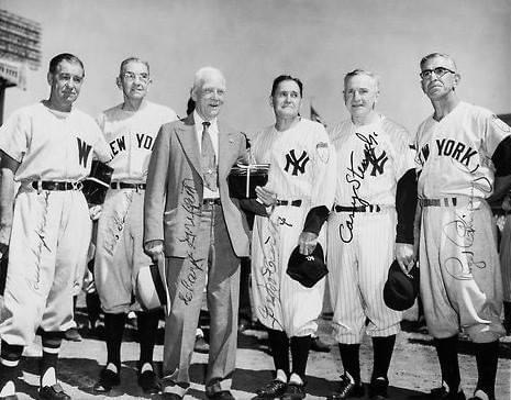 At an Old Timer's Day atYankee Stadium, former managerJoe McCarthyis honored. With the game scoreless in the 7th inning,Mickey Mantlebelts aBob Porterfieldpitch into the last row of the RFbleachers, some 460 feet away to break the scoreless tie.Ed Lopatshuts out theSenatorsfor 4 – 0Yankeewin.