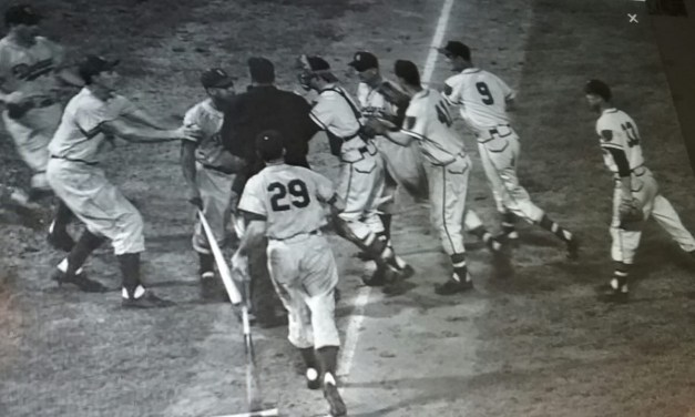 Duke Snider lost a homer to the rain in Milwaukee. The blow came as he led off the eighth inning with Lew Burdette pitching for the Braves. The game was called with the Dodgers leading 2-0 during the bottom of the eighth. The records reverted back to the end of the seventh and a 1-0 Dodgers win.