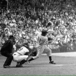 Roy Campanella does the catching,as 21 yr.old Roberto Clemente takes a big swing in a 1956 Pirate-Dodger game in Ebbets Field.