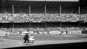 sal maglie delivers first pitch at ebbets field 1956 world series
